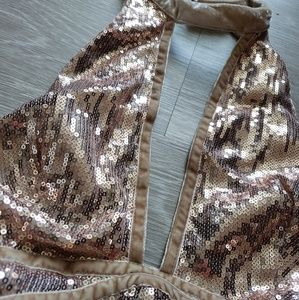 Rose gold free people sexy sequin dress